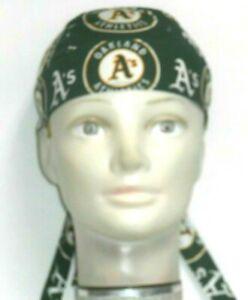 Skull Cap for Oakland A's Athletics Baseball on Green 100%Cotton #341 Handmade