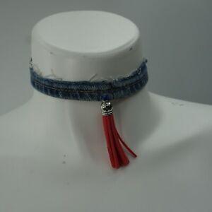 Denim Choker Pink Leather Rhinestone Tassel Trim Necklace One Size Blue Jeans