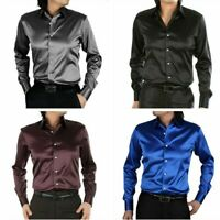 Mens Satin Silk-like Long Sleeve Shirt Wet Look Smart Formal Wedding Tops Blouse
