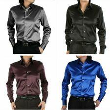 Satén de seda de hombre-como Wet Look camisa de mangas largas Blusa Top Inteligente Formal Boda