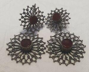 Vintage Antique Silver 800 Red Garnet Large Stunning Antique Earrings