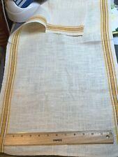 Vintage Linen Kitchen Toweling Towel Fabric Yellow & Black Stripes Exc
