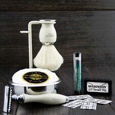 6 Pcs Men's Shaving Set DE Safety & Pure White Badger Brush Grooming Kit for HIM