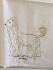 Afghan Hound Dog Hand Embroidered Cotton Kitchen Towel Vintage Unused