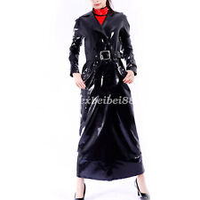 Latex 100% Rubber Long Coat Wetlook Outfit Jacket Belt Shiny Men 2019 New S-XXL