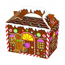 10 GINGERBREAD HOUSE MAN FOOD BOXES~CHRISTMAS CAKE~XMAS CANDY~PARTY~FREE PP UK