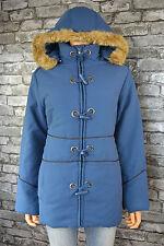 Women's Hooded Blue Hooded Warm Winter Parka Duffel Coat UK Size 14 / 16