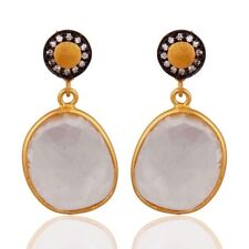 Crystal Quartz CZ Birthstone Jewelry Earrings Gold Plated 925 Sterling Silver