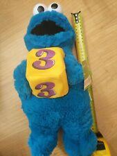"Sesame Street COOKIE MONSTER w. No 3, 35 cm (15"") Plush Stuffed Animal NEW 2006"