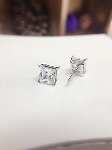 7mm square stud earrings with clear cz 925 sterling silver stamped unisex gift