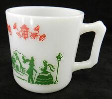 Mug Hazel Atlas Christmas Village Red Green Milk White Glass Egg Nog Vintage