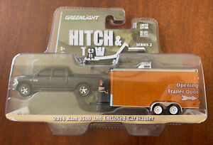 Greenlight Hitch And Tow Dodge Ram 1500 And Enclosed Car Hauler  1/64