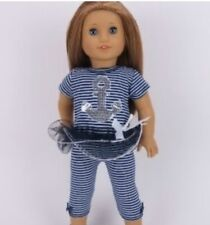Nautical Stripe Capri 2 Piece Outfit 18 in Doll Clothes fits American Girl dolls