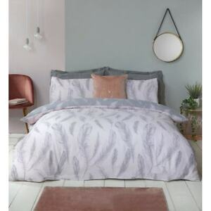 Feather Print Duvet Cover Set Double King size Bedding