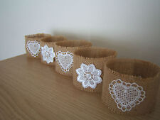 Rustic Hessian and Lace Jam Jar Vase Tealight Covers Holders Wedding Table x 5