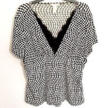 Christopher Banks CJ Plus Size X Black Polka Dot Stretch Blouse Short Sleeve