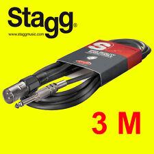 Stagg SAC3PXMDL S. A Xlr 3m Audio 6mm Series Cable para etapa músico-Nuevo