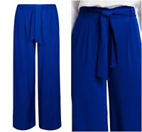 ex M&S Marks & Spencer Pleated Palazzo Wide Leg Cobalt Blue Trousers