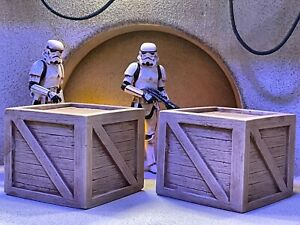 Empire Toy Works Custom 2pc Large Wood Crate Set Playset Diorama 1:18 or 1:12