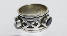STERLING SILVER 925 RECESSED ONYX CABOCHON WORRY / MEDITATION SPINNER RING SZ 6