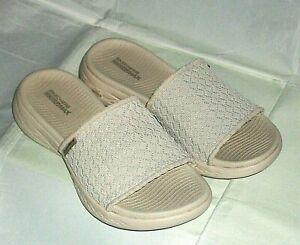 Skechers -GogaMax 5Gen Womens Slip On Fabric Open Toe Sandals in Ivory Size 4 UK