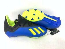 NEW! Adidas Youth Boy's X 18.3 FG J Soccer Cleats Blue/Neon Yellow/Black A20 tz