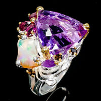 Top color 21ct+ Natural Amethyst 925 Sterling Silver Ring Size 7.5/R89400