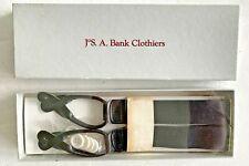 Jos A Bank Mens Braces Suspenders Black Elastic Leather White Buttons NEW NIB