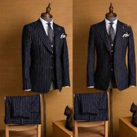 Men's Striped 3 Pieces Suits Peak Lapel Office Party Formal Suits Size 38 40 42