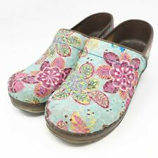 Sanita Pro Zina Embroidered Turquoise Floral Clogs Size 36