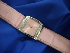 MARY KAY WHITE RHINESTONES PINK band SILVER TONE watch NEW BATTERY RUNNING A10