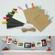 10 Pcs Photo Hanging Paper Frame Album Picture Display Wooden Clips Hemp Rope VL