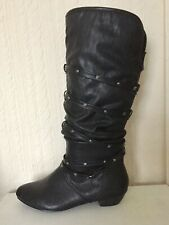Black Faux Leather Knee Boots Size 5 Bnwot