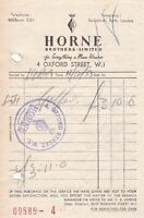 Horne Brothers Ltd Oxford St London 1953 E/Thing a Men Wears Receipt Ref 38275