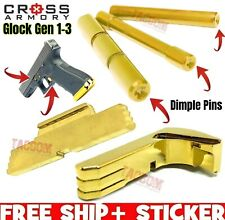 Cross Armory Gold Parts f Glock 3 DIMPLE pins extended magazine catch slide lock