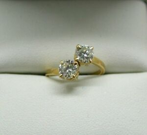 Fantastic Vintage 18 Carat Gold Two Stone 1.00 Carat Diamond Twist Ring Size G