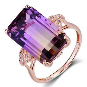 Luxury Rose Gold Filled Amethyst Morgan Stone Ring Wedding Engagement Size 5-12