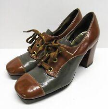 Vintage 60s Leather 2-Tone Oxford Pump Heels Size 6 Mod Chunky Heel Platform