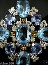Signed Swarovski Blue Topaz Crystal Pin~Brooch Retired Rare New In Box Sale!