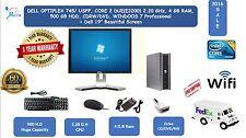 """Dell Desktop Windows7pro Computer WiFi Core 2 Duo 4 GB Ram 250GB 19"""" LCD Monitor"""