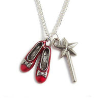 WIZARD OF OZ necklace RUBY RED slippers shoes Dorothy no place like home charm
