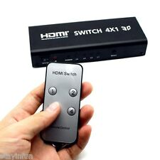HDSW4 4 x 1 4 Inputs HDMI Switch Splitter with IR Remote Control Audio Toslink C