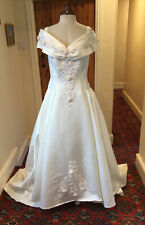 VINTAGE 1980's/1990's IVORY 'SATIN' WEDDING DRESS WITH TRAIN