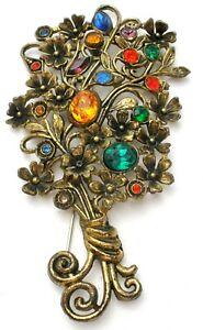 Art Deco Fruit Salad Flower Brooch Multi Color Rhinestone Floral Pin Jewelry
