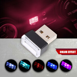Red Mini Car Atmosphere Light USB LED Interior Neon Ambient Lamp Universal ABS