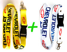 2x CHEVROLET CHEVY White and Yellow Lanyard keychain ID holder