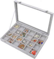 Stylifing Clear Lid 24 Grid Jewelry Organizer Tray 24 Tray 24 Grids