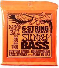 Ernie Ball 2838 Slinky Long Scale Bass Guitar Strings 6-string set gauges 32-130