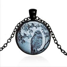Blue Moon Owl Black Glass Cabochon Necklace chain Pendant Wholesale
