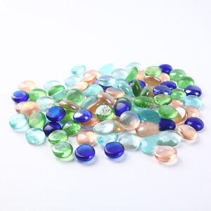 Mixed Color Glass Pebbles Stones Flat Marbles for Vase Fish Tank Aquarium Decor